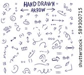 hand drawing. set. arrows. a... | Shutterstock .eps vector #589300715