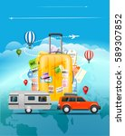 travel concept. travel bag and... | Shutterstock .eps vector #589307852