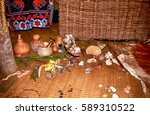 Small photo of SWAZILAND - JULY 15: Sangoma's hut on 15 July 2000 at Swaziland. Sangoma is the shaman, healer and magicician in Swazi and Zulu culture.