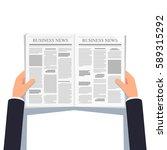 opened newspaper in businessman ... | Shutterstock .eps vector #589315292