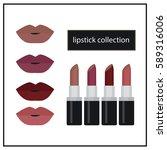 set of color lipsticks. red... | Shutterstock .eps vector #589316006
