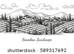 vineyard seamless landscape.... | Shutterstock .eps vector #589317692