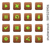 set of icons on wooden textured ...
