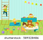 kids playroom with light...   Shutterstock .eps vector #589328486