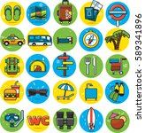 travel icons set flat colorful | Shutterstock .eps vector #589341896