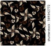 vector seamless pattern flowers ... | Shutterstock .eps vector #589342772