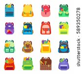 backpack or satchel set full of ... | Shutterstock .eps vector #589350278