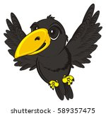 cute crow fly | Shutterstock . vector #589357475