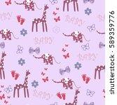 pink seamless baby background... | Shutterstock .eps vector #589359776