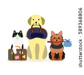 small group of dogs and cat... | Shutterstock .eps vector #589368806