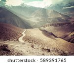 road to the mountain in desert... | Shutterstock . vector #589391765