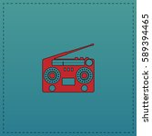 boombox simple flat button. red ... | Shutterstock . vector #589394465