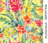 watercolor vintage floral... | Shutterstock . vector #589397546