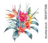 watercolor vintage floral... | Shutterstock . vector #589397588