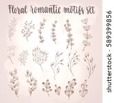 floral motifs set. hand drawn... | Shutterstock .eps vector #589399856