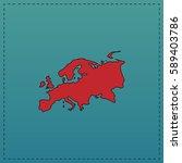eurasia simple flat button. red ... | Shutterstock . vector #589403786