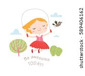 be awesome today   greeting... | Shutterstock .eps vector #589406162