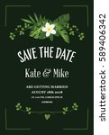 save the date card with... | Shutterstock .eps vector #589406342
