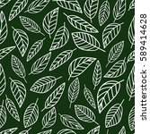 seamless pattern graphic leaves.... | Shutterstock .eps vector #589414628
