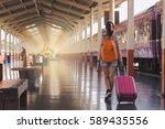 girl hangout holiday travel map ... | Shutterstock . vector #589435556