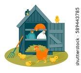 Henhouse With Funny Birds On A...