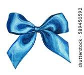blue watercolor bow. watercolor ...   Shutterstock . vector #589450592