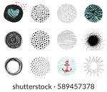 artistic circle clip art... | Shutterstock .eps vector #589457378