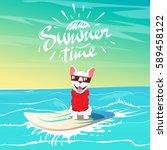 cute happy dog in sunglasses... | Shutterstock .eps vector #589458122