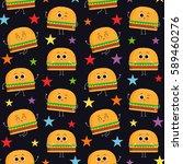 burger  vector seamless pattern ... | Shutterstock .eps vector #589460276