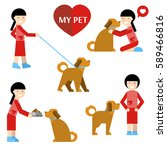 my pet. set. the girl walks... | Shutterstock .eps vector #589466816