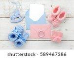 set of baby girl and boy... | Shutterstock . vector #589467386