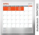 calendar template for april... | Shutterstock .eps vector #589472822