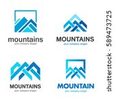 vector mountains logo design | Shutterstock .eps vector #589473725