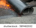 flat roof installation. heating ... | Shutterstock . vector #589482032