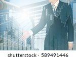 double exposure of businessman... | Shutterstock . vector #589491446
