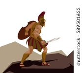 angry spartan warrior with... | Shutterstock .eps vector #589501622