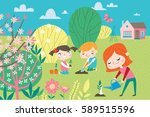 landscape with cute children in ... | Shutterstock .eps vector #589515596