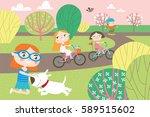 landscape with cute children in ... | Shutterstock .eps vector #589515602