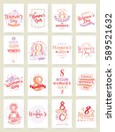 8 march greeting cards set.... | Shutterstock .eps vector #589521632