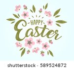 happy easter hand sketched... | Shutterstock .eps vector #589524872
