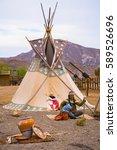 Small photo of September 19, 2014 - Tabernas (almería, Spain) : american indian tee pee sculpture - western movie set