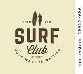 surfing logo. vintage outdoor... | Shutterstock .eps vector #589527686