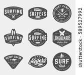 vector set of surfing logos ... | Shutterstock .eps vector #589527992