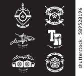 thai boxing club vintage emblem ... | Shutterstock .eps vector #589528196