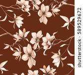 seamless floral pattern with... | Shutterstock .eps vector #589529672