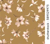 seamless floral pattern with... | Shutterstock .eps vector #589529975
