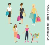 girls with shopping bags. set... | Shutterstock .eps vector #589544402
