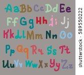 hand drawn alphabet. brush... | Shutterstock . vector #589550222