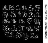 elegant handwritten letters.... | Shutterstock .eps vector #589550798