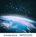 earth from space with dramatic... | Shutterstock . vector #589552295